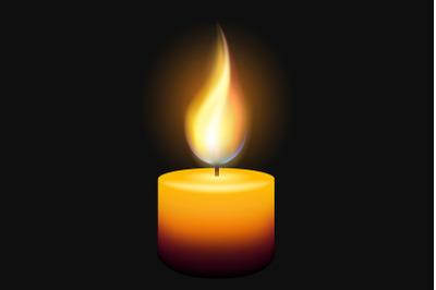 Burning Candle on Black Background