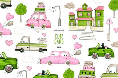 Cute cars cliparts