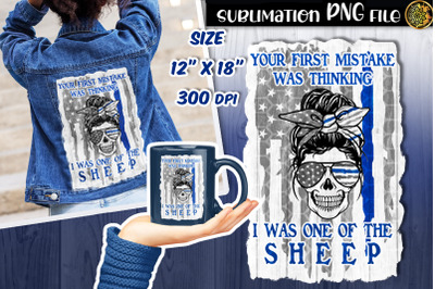 Distressed US Flag with Blue Line and Skull Mom Sublimation PNG