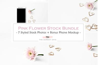 Pink Flower &Rose Gold Clip Stock Bundle