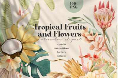Tropical Flowers, Fruits and Leaves - Watercolor Clipart