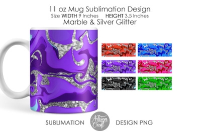 11 oz mug sublimation PNG, Marble effect, Silver glitter