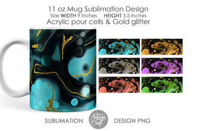 Sublimation mug designs, 11 oz Mug, acrylic pour cells, golden glitter