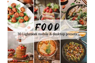 30 Food Lightroom Presets, Lightroom Mobile & Desktop Presets Pack