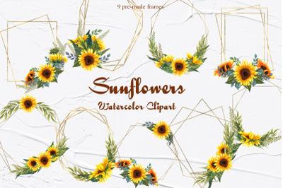 Sunflower Watercolor Frames