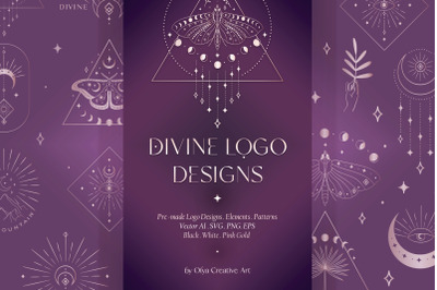 Divine Beauty Logo Designs, Elements, Patterns. Esoteric, Bundle. Pink