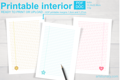 Cute Printable Notebook Paper for KDP.