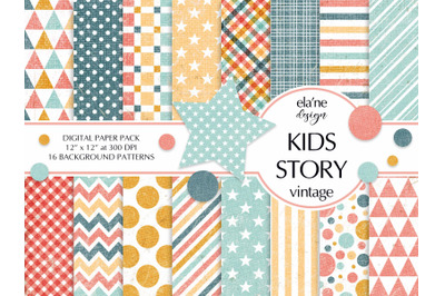 Kids Story Digital Paper Pack