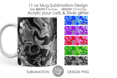 11oz Mug sublimation designs, acrylic pour art, glitter