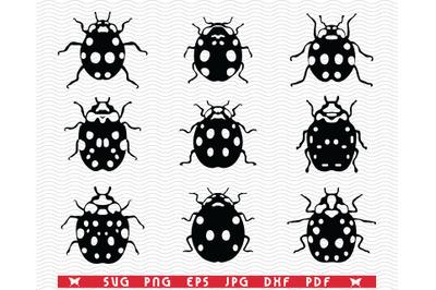 SVG Ladybugs, Black silhouette, Digital clipart
