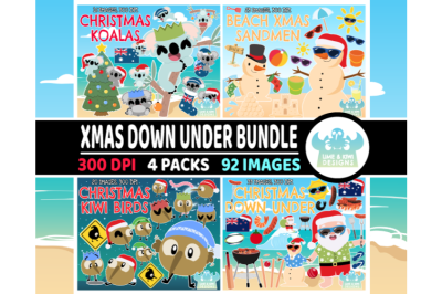 Christmas Down Under Clipart Bundle 1 - Lime and Kiwi Designs