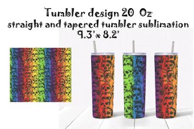 Tumbler Sublimation,Tumbler Design 20oz. Rainbow and skull