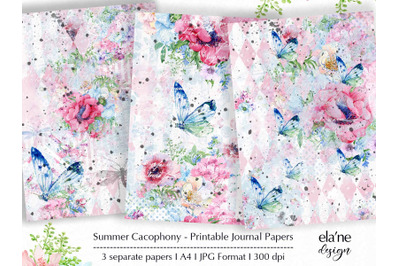 Summer Cacophony Printable Journal Papers
