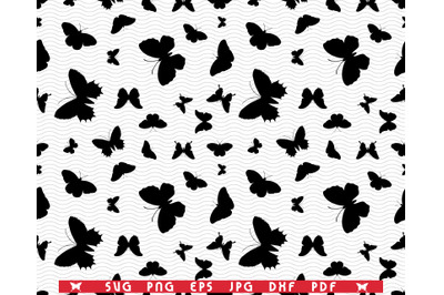 SVG Butterflies, Seamless pattern, Black Silhouettes on white