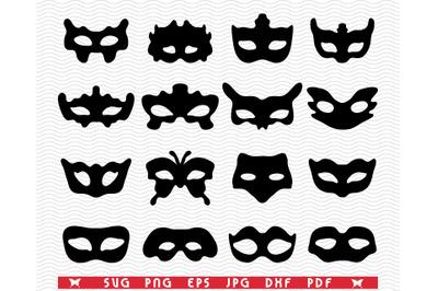 SVG Festive Masks, Black Silhouettes, Digital clipart