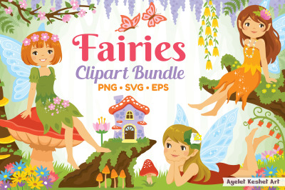 Fairies clipart bundle - illustrations, frames and backgrounds