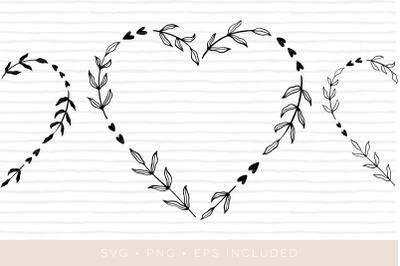 Heart laurel wreath cutfile. Laurel clipart EPS PNG SVG
