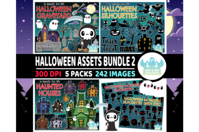 Halloween Assets Clipart Bundle 2 - Lime and Kiwi Designs