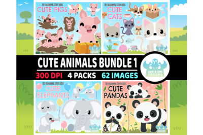 Cute Animals Clipart Bundle 1 - Lime and Kiwi Designs