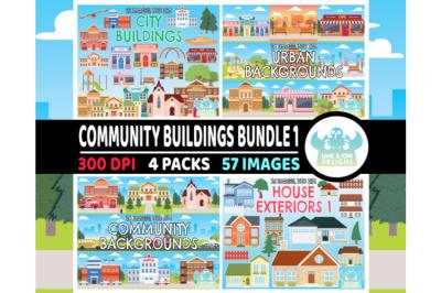 Community Buildings Clipart Bundle 1 - Lime and Kiwi Designs