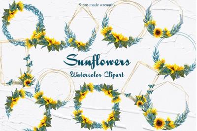 Sunflower Watercolor Wreaths