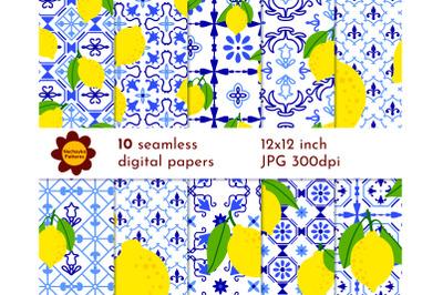 Seamless lemon papers Blue white lemon Ceramic tile patterns