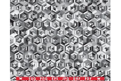 SVG Hexagons, Gray Seamless pattern, Digital clipart