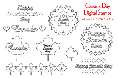 Canada Day Digital Stamps
