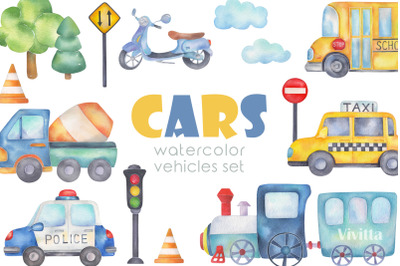 Cars watercolor transport set, road, vehicles