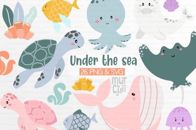 Sea animals Clip Art Set