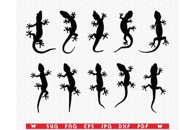 SVG Lizards, Gecko, Black Silhouettes, Digital clipart