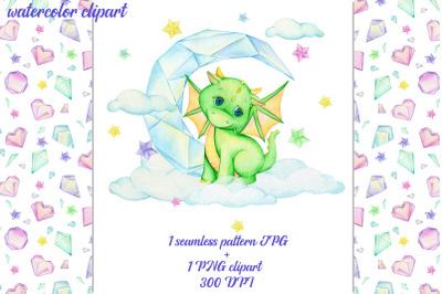Dragon Clipart PNG. seamless pattern JPG. Watercolour animals. fairyta