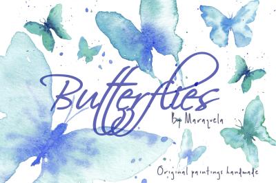 Watercolor Blue Butterflies Clip Art handmade