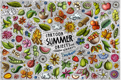 Summer Nature Cartoon Objects and Symbols Collection