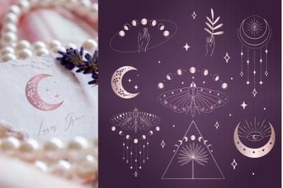 Divine Beauty Pre-Made Logo Designs. Esoteric mystic symbols. Tattoo.