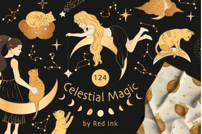 Celestial Magic. Magic Cliparts & Patterns