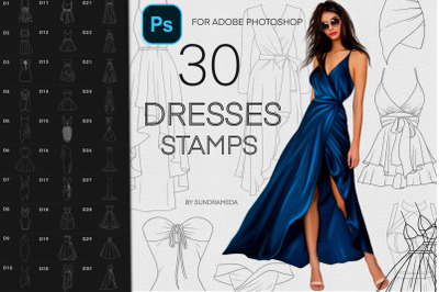 Fashion Dresses Stamps for Adobe Photoshop