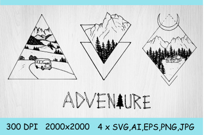 SVG Nature, adventure. Sublimation, Tattoo. Camping clipart