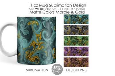 11 oz Mug sublimation designs, Matte colors, Gold Glitter