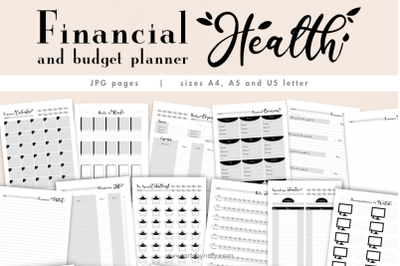 Printable financial health and budget planner.