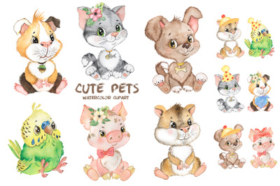 ets watercolor clipart. Cute baby animals clipart. Puppy, kitten, pig