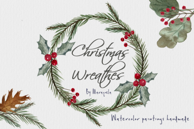Watercolor Christmas Wreathes hand painted