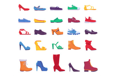 Shoes and boots. Summer and autumn fashion footwear for man or woman.