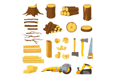 Lumber industry materials and tools. Wood planks, logs, board and tree