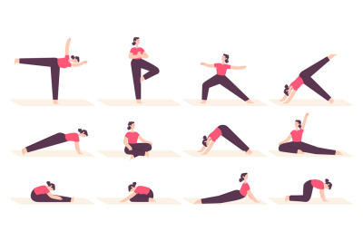 Woman in yoga poses. Female cartoon character do fitness stretch exerc