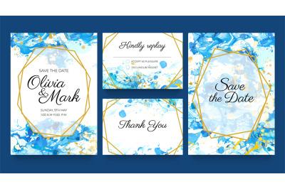 Watercolor wedding invite cards. Blue and gold invitation templates wi