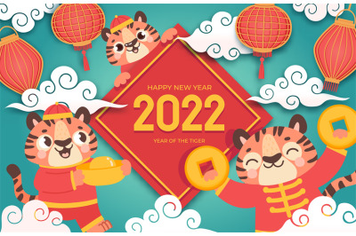 Chinese new year 2022. Winter holiday banner with cartoon tigers in as