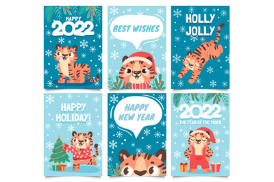 New year 2022 cards. Merry christmas poster with cartoon tiger decorat