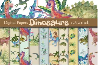 Dinosaurs watercolor digital papers