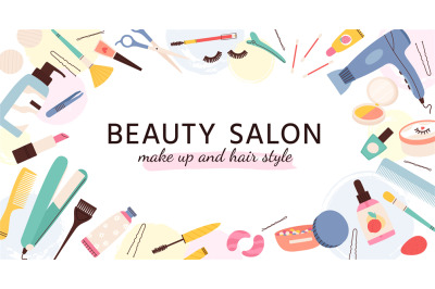 Beauty salon banner. Poster for hairdresser, makeup artist and nail sa